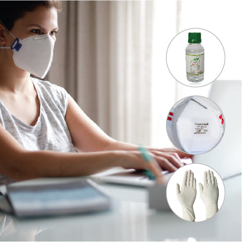 Honeywell Reusable Respiratory Protection with Hand Gel-100ml & 2 Pair of Hand Protect
