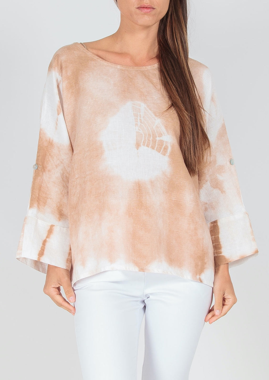 Everything to Me Top - Beige, by Ridley the Label  This modern 100% Linen Top features a unique tie dye effect in subtle beige and white to pair back beautifully with your white pants and jeans, and light denims.  Features:  Relaxed fit  Scoop neck  7/8th sleeves with button tab so it can be rolled and worn as a short sleeve  Rounded hemline  Made in Italy
