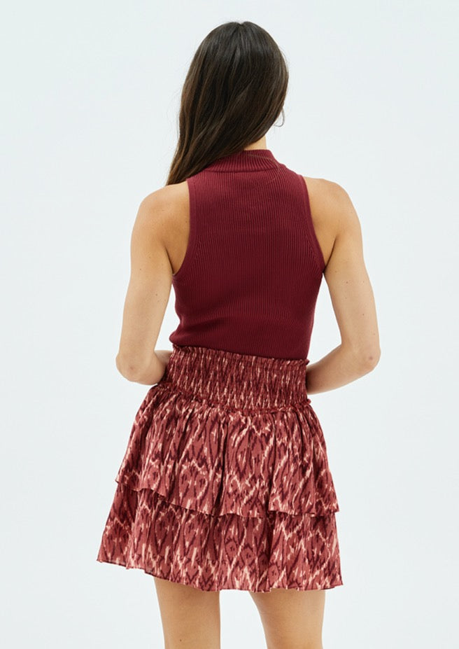 Rachelle High Neck Rib Top - Wine