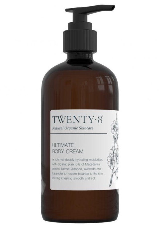 Ultimate Body Lotion, by Twenty8  A light yet deeply hydrating moisturiser, using organic plant oils of Macadamia oil, Apricot Kernel Oil, Almond Oil, Avocado Oil and Lavender to restore balance to the skin, leaving it feeling smooth and soft.  The perfect base to add your essential oil synergy blends to for your daily body boosting ritual.