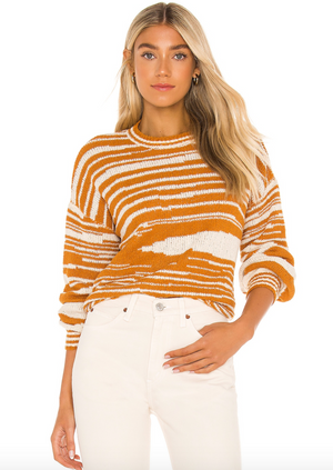 Donna Knit Sweater - Rum, by Amuse Society  A soft knit sweater in warm autumn tones to carry you through the cooler months in style.  72% acrylic, 25% nylon, 3% spandex Dry clean only Knit fabric