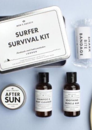 This Surfer Survival Kit contains all a beach loving surfer needs for a great day in the sea. Including our emergency surf wax, shampoo & body wash, muscle rub, after-sun and that must have shark bite bandage because one can never be too careful.  CONTAINS  Shampoo & body wash. A natural formulation that uses citrus fruits to clean the skin and coconut oil to moisturise the hair. Perfect to restore skin after hours in salty water. Muscle rub. Peppermint and ginger to soothe those screaming thighs. After-sun
