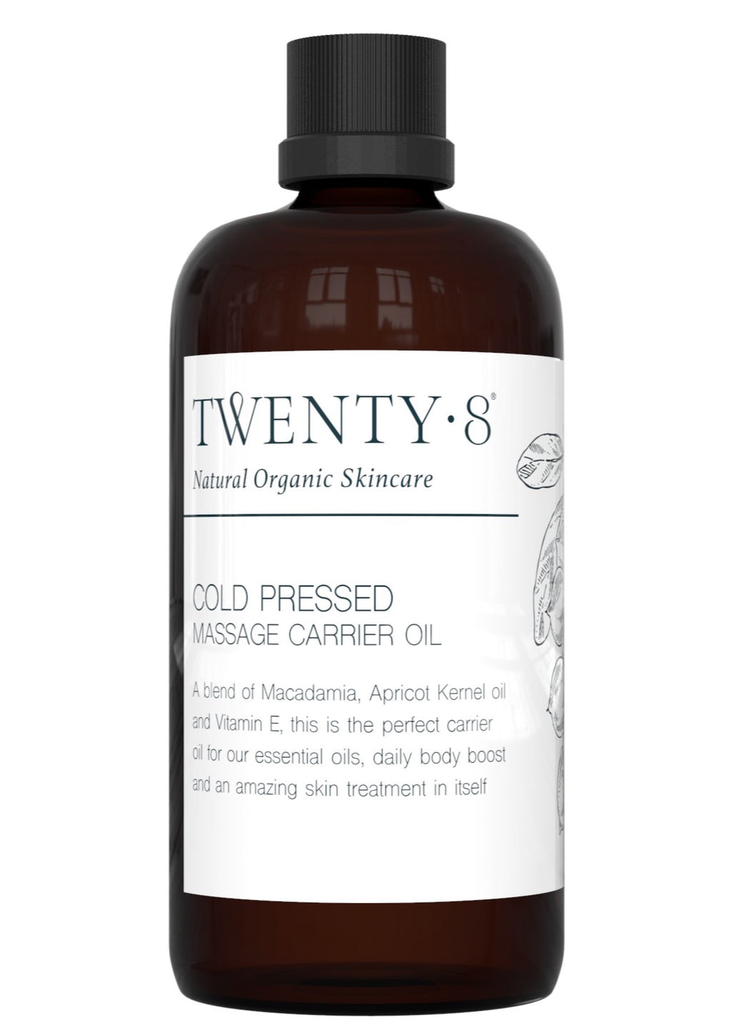 Cold Pressed Massage Carrier Oil, by Twenty8  A cold pressed blend of Macadamia, Apricot Kernel oil and Vitamin E, this is the perfect carrier oil an amazing skin treatment in itself.  It is the perfect base to add your essential oil synergy blends to for your daily mind and skin boost.