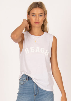 Easy white muscle tank with BEACH text in white on white.