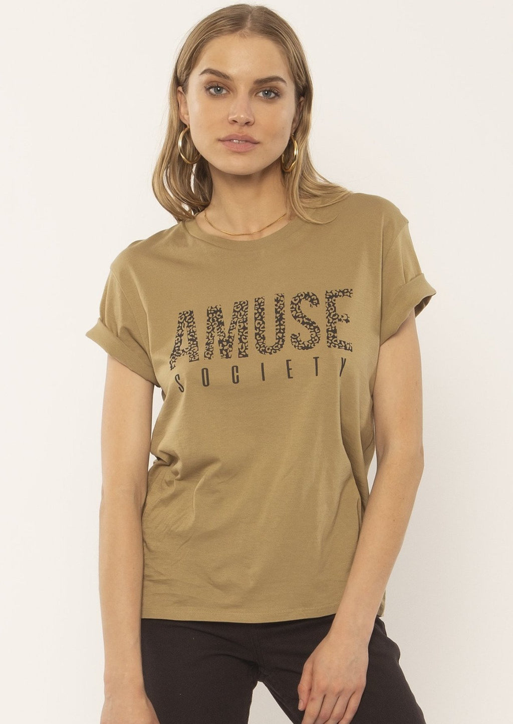 "Loose fitting tee with fun ""Amuse Society"" graphic. In a beautiful Surplus colour (a soft olive brown)."