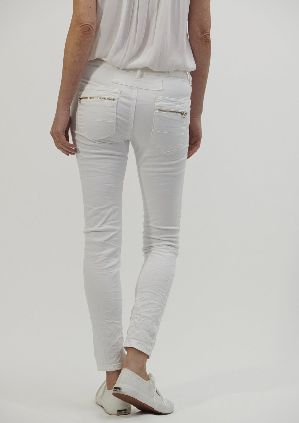 Italian Star Button Jeans - White