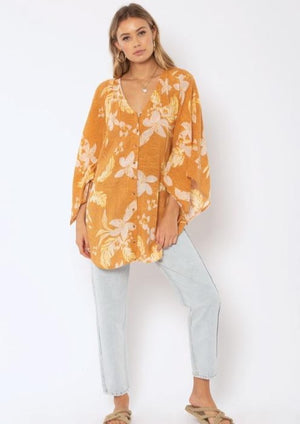 Mystic Sands Mini Kimono Dress - Light Amber
