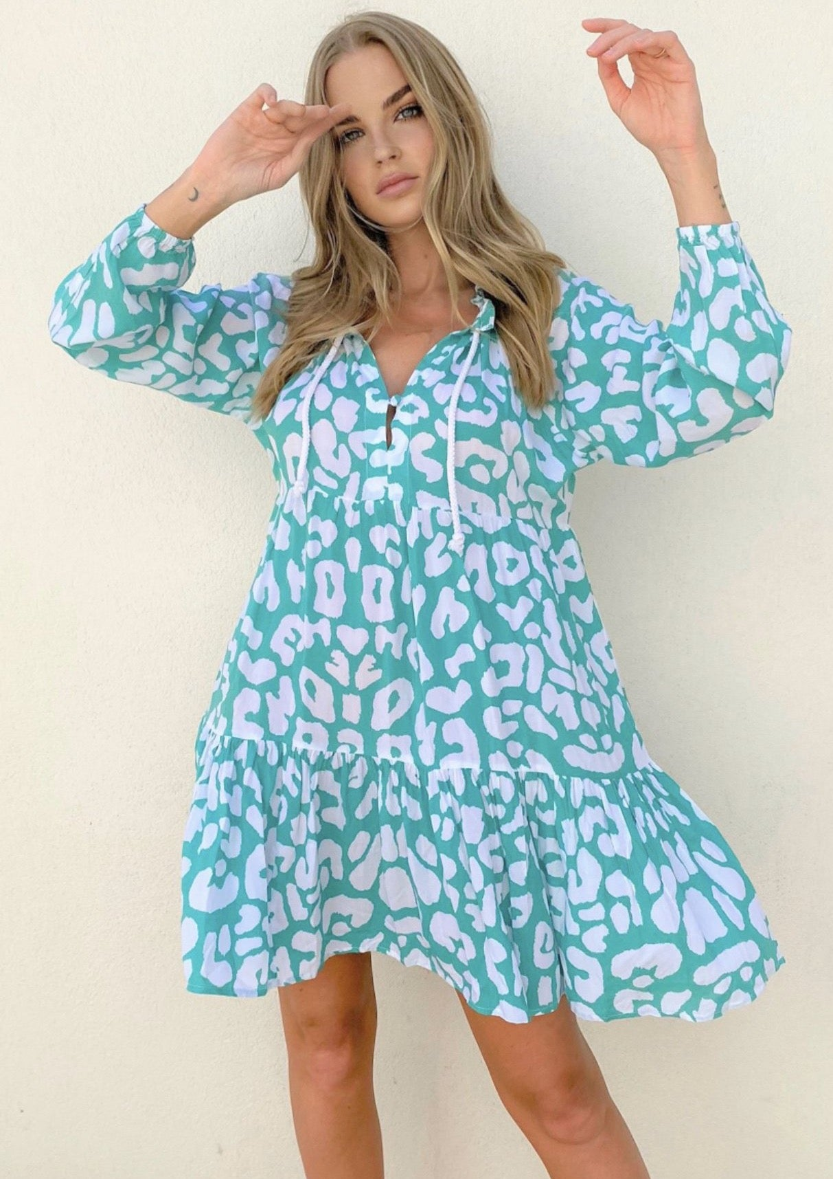 Cali Rope Mini Dress - Aqua Leopard