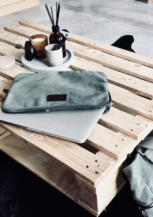 The Huey Laptop Sleeve by NED Collections  Durable canvas with padded lining and full zip-around closure.  35cm x 26cm