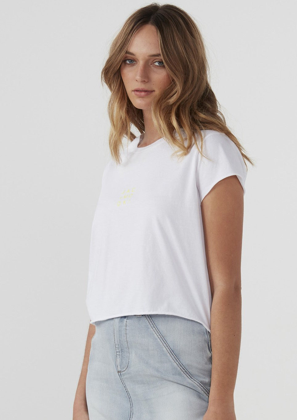 The Lottie Tee is designed with a cropped hem and is crafted from 100% premium organic cotton jersey. A fun and fresh way to update your weekday to weekend style. Pair with your fave jeans or high waisted black tights and white sneakers.