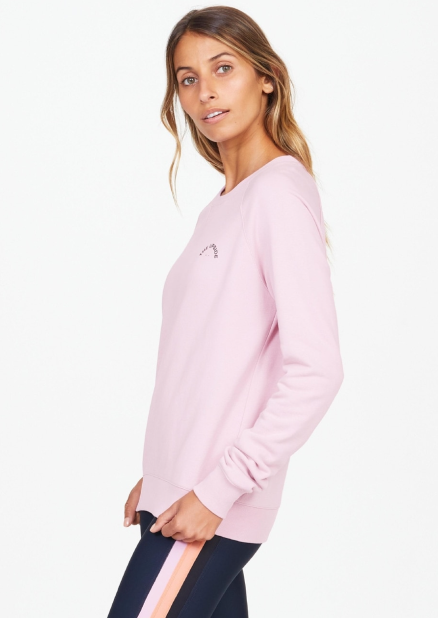 Bondi Crew Small Horseshoe - Rose, by The Upside  Classic cuteness c/o our Bondi Crew Small Horseshoe..  Mid-length crew in sweet pink hue. Contrast Horseshoe logo print at front. Raglan sleeves. French terry cotton for ultimate luxury. Pair with our Jewel Colour Midi Pant for the perfect weekend fit