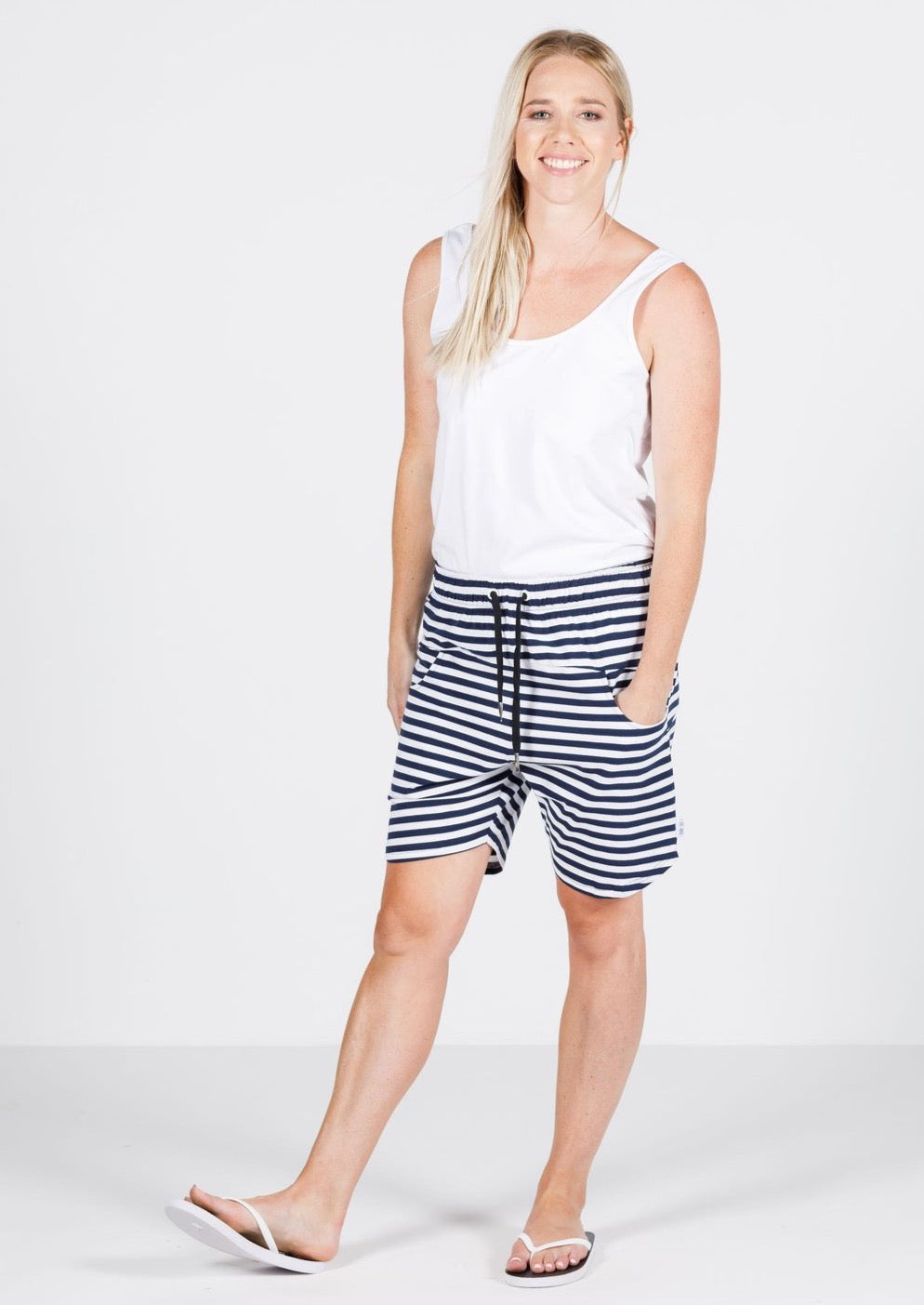 Apartment Shorts - Navy/White Stripe