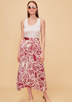 "NOTSHY Long Printed Skirt  The Palma skirt boasts a ""Wild"" flower print which will bring a stylish and dressy touch to your outfits. The flared fit makes it comfortable and easy to wear, and its high waist will accentuate your figure. Team it with a cami top for an ultra-feminine look.  Flared fit Midi length Zipped fastening to the waist Length size S:105 cm Composition: 100% Viscose  Model is 1m76 and wears a size S"