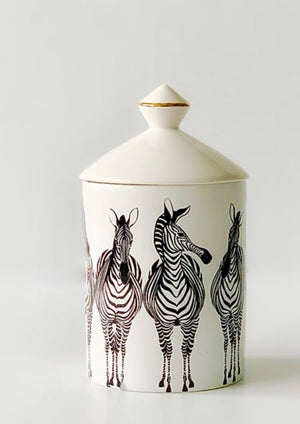 **PICK UP ONLY** From Nomad + Home, 2/1 Matariki St, Omaha Beach.  Miss Zebra is a customer favourite, for her quirky monochromatic looks.  Stands 16cm high  400ml  100% Soy   All Amanda Alexander candles are made using the finest soy wax, cotton wicks and natural oils. They are vegan and kosher.  NO Genetically modified materials  NO Parafin  NO Lead or Zinc in wick