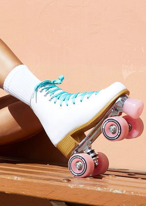 Women's Rollerskates Colour: White Upper Material: PVC PVC Upper, heel and sole Metal speed lace eyelets Aluminium alloy trucks and baseplate 58mm 82a durometer nylon core urethane wheels ABEC 7 bearings PU brake stopper PETA-approved vegan product
