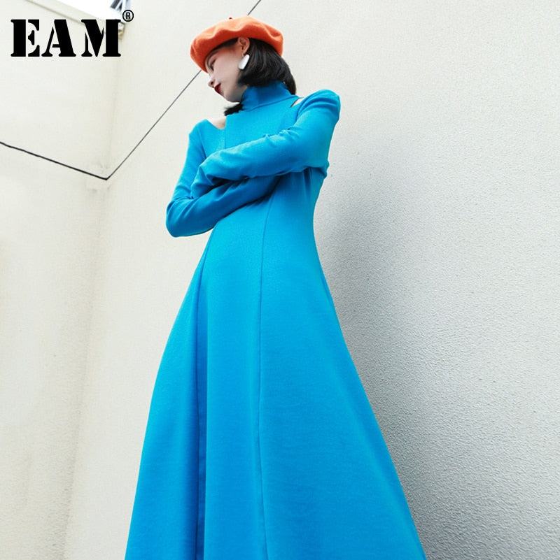 [EAM] Women Off Shoulder Brief Temperament Dress New Turtleneck Long Sleeve Loose Fit Fashion Tide Spring Autumn 2020 1R355