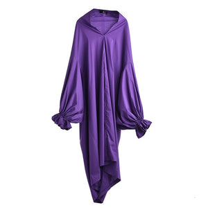 [EAM] 2020 New Spring Autumn V-Neck Long Lantern Sleeve Ruffles Split Joint Loose Long Big Size Dress Women Fashion Tide LG0291