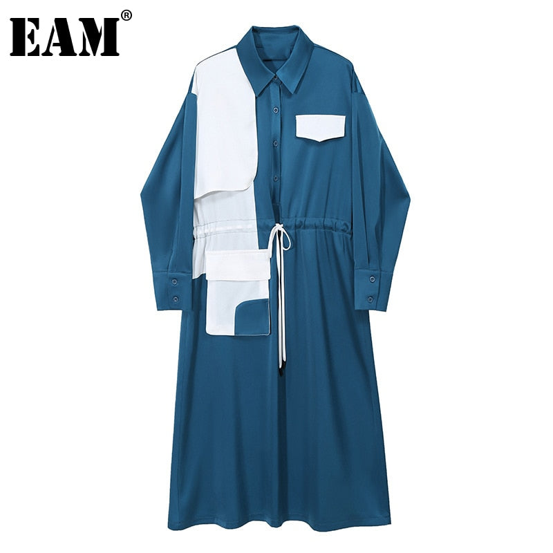 [EAM] Women Blue Contrast Color Drawstring Shirt Dress New Lapel Long Sleeve Loose Fit Fashion Tide Spring Autumn 2020 1Z652