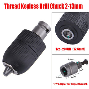 1/2 Inch 20UNF Thread Drill Chuck Conversion Drill Chuck Adapter Convert Impact Wrench Into Electric Drill Keyless 3 Jaw Chuck