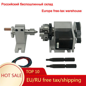 50MM 4 Jaw Chuck Rotary A 4th Axis Tailstock for CNC Router Engraver Milling Machine 4 axis kit
