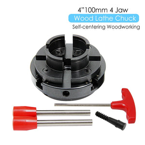 "4"" Inch Wood Lathe Chuck 100mm 4-Jaw Self Centering Woodworking Machine Turning Tool Accessories for DIYers Hobbies"