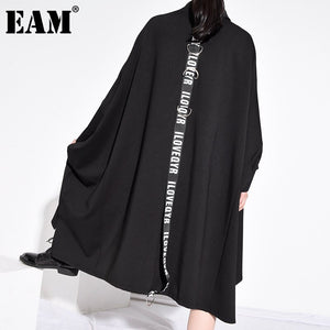[EAM] Women Black Letter Printed Big Size Midi Dress New Stand Collar Long Sleeve Loose Fit Fashion Spring Autumn 2020 1Z485