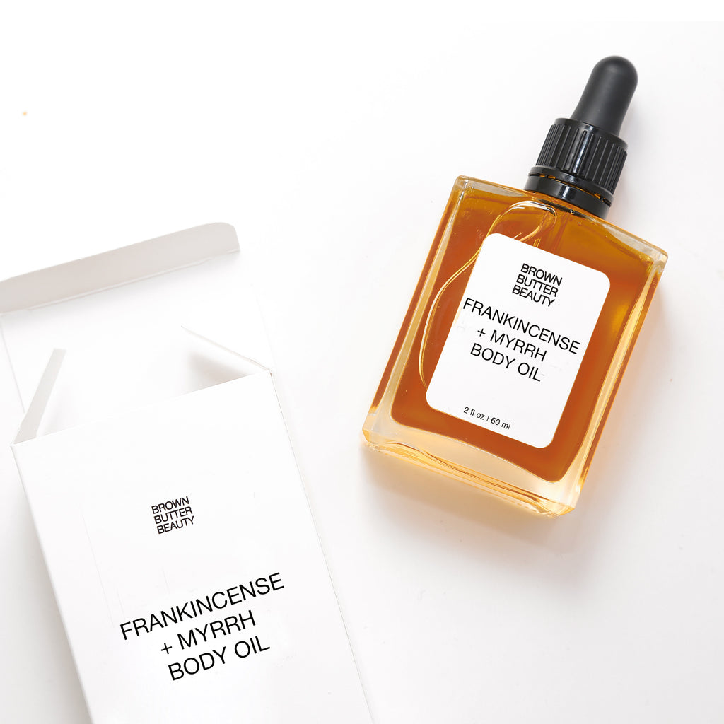 frankincense myrrh body oil by brown butter beauty