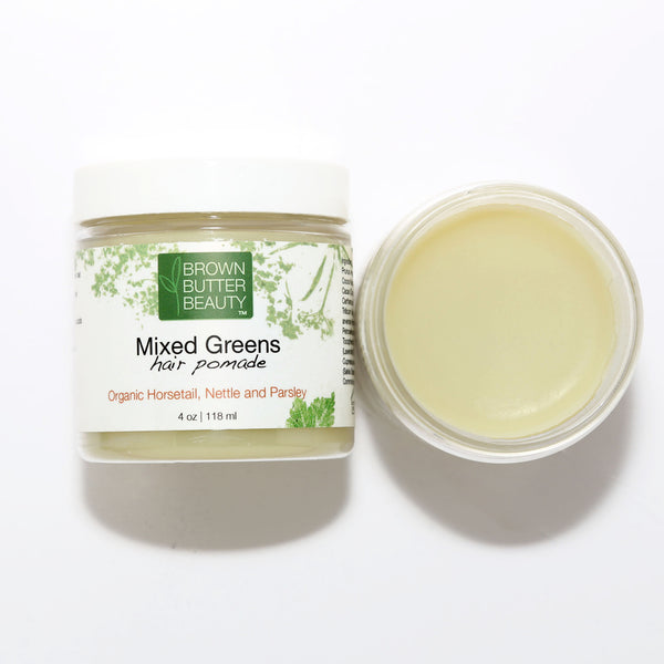 Mixed Greens Hair Pomade - Organic Horsetail, Organic Nettle, OrganicParsley Hair Butter - 4 Ounces