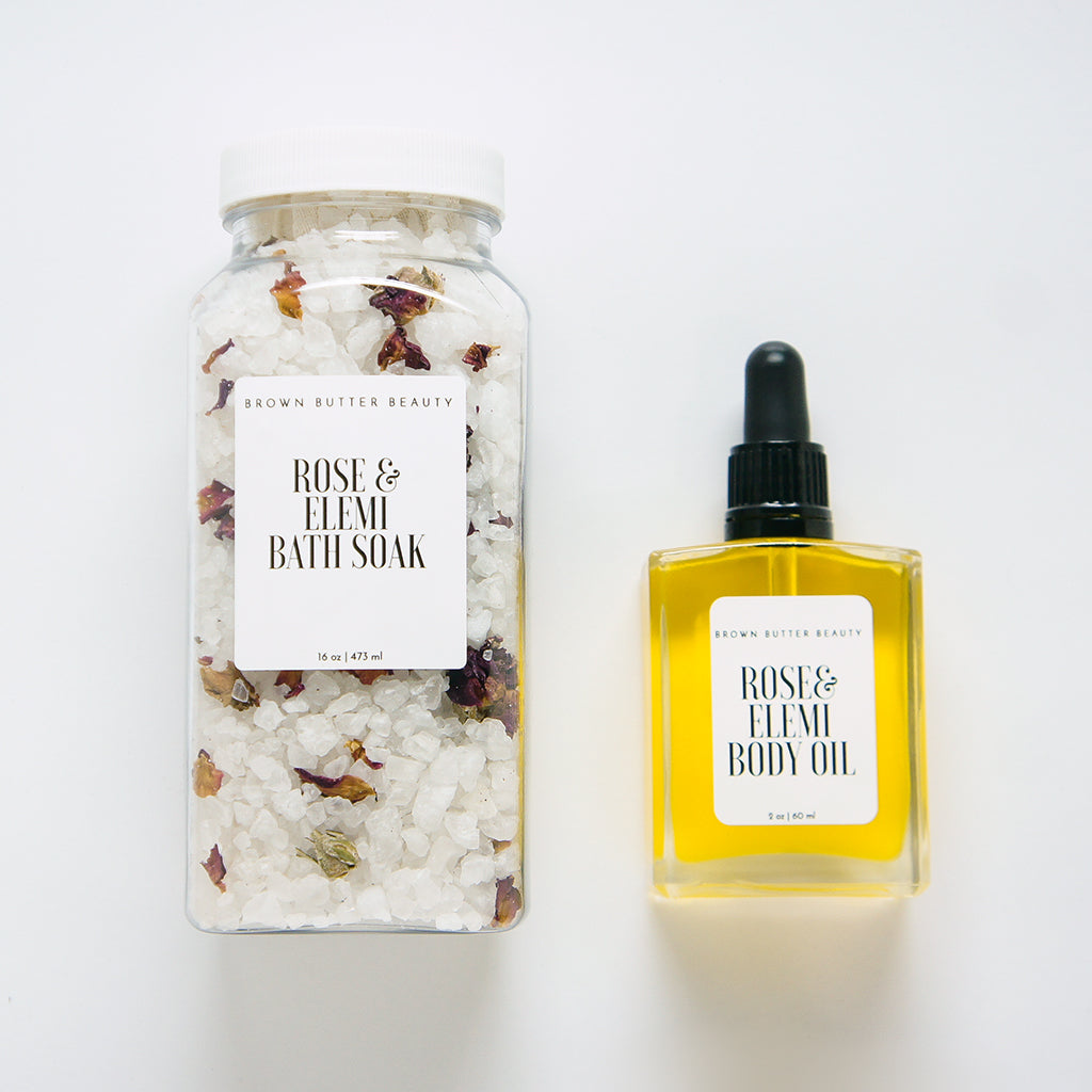 Rose Elemi Bath Soak and Body Oil Gift Set