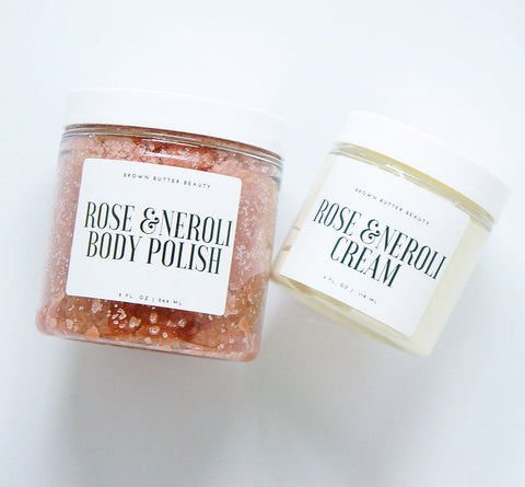 Rose Neroli Body Polish and Cream Set