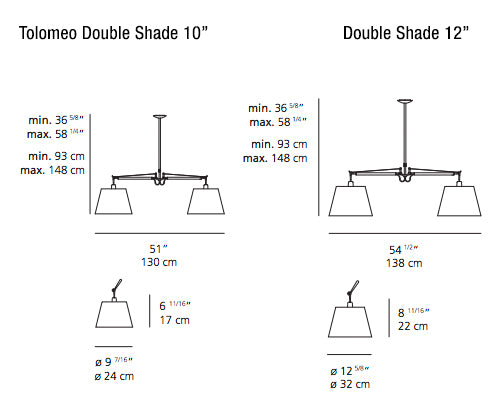 Tolomeo Shade Double suspension