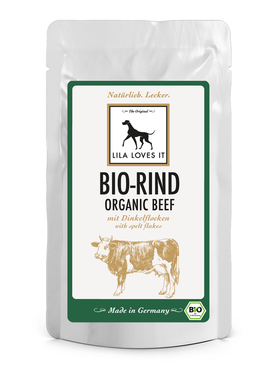LILA LOVES IT Bio-Rind mit Dinkelflocken Pouch