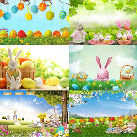 Spring/Easter Backdrops - Vinyl - Rabbit, Meadow, Flowers, Colored Eggs