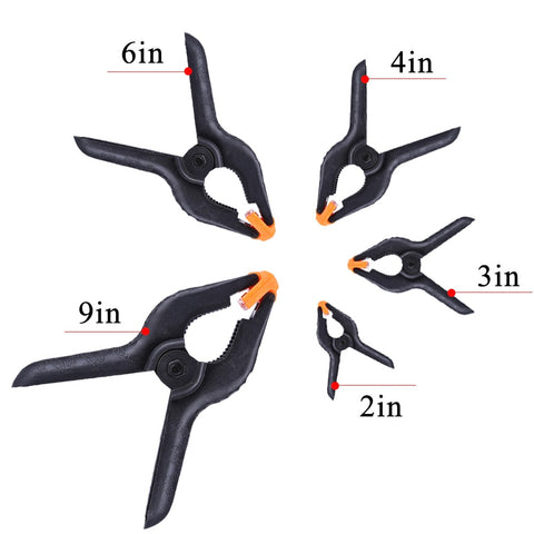Adjustable Nylon Spring Clamps for Photography Backdrops - Fixed Clip 2/3/4/6 inch