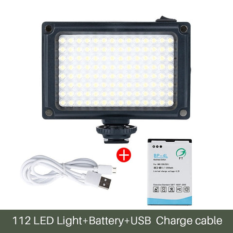 112 LED Bulb Video Light with Rechargeable Battery