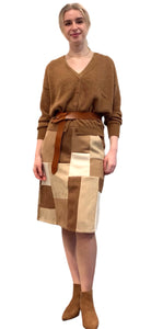 Skirt patchwork suedine