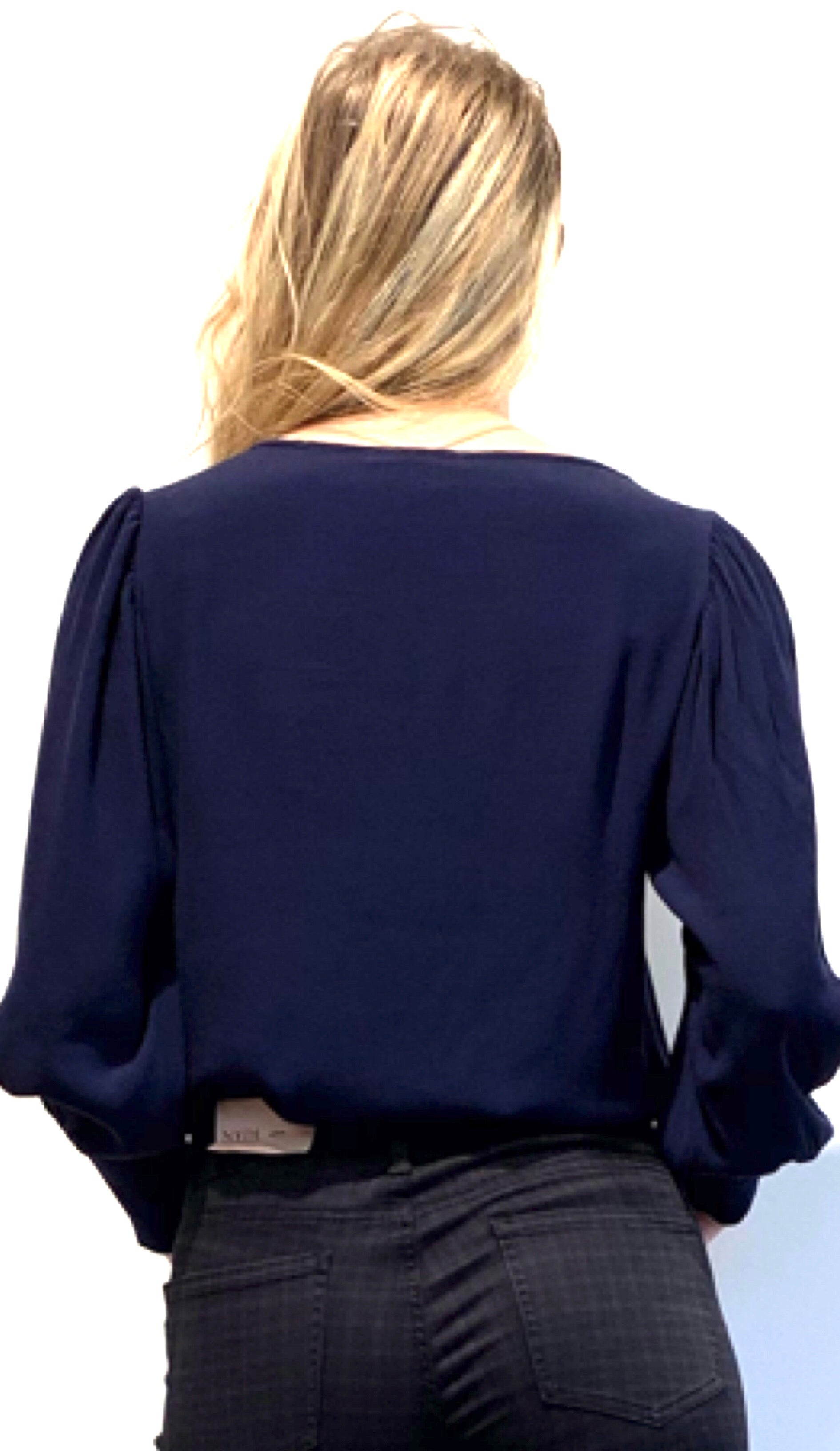Blouse puff sleeve navy