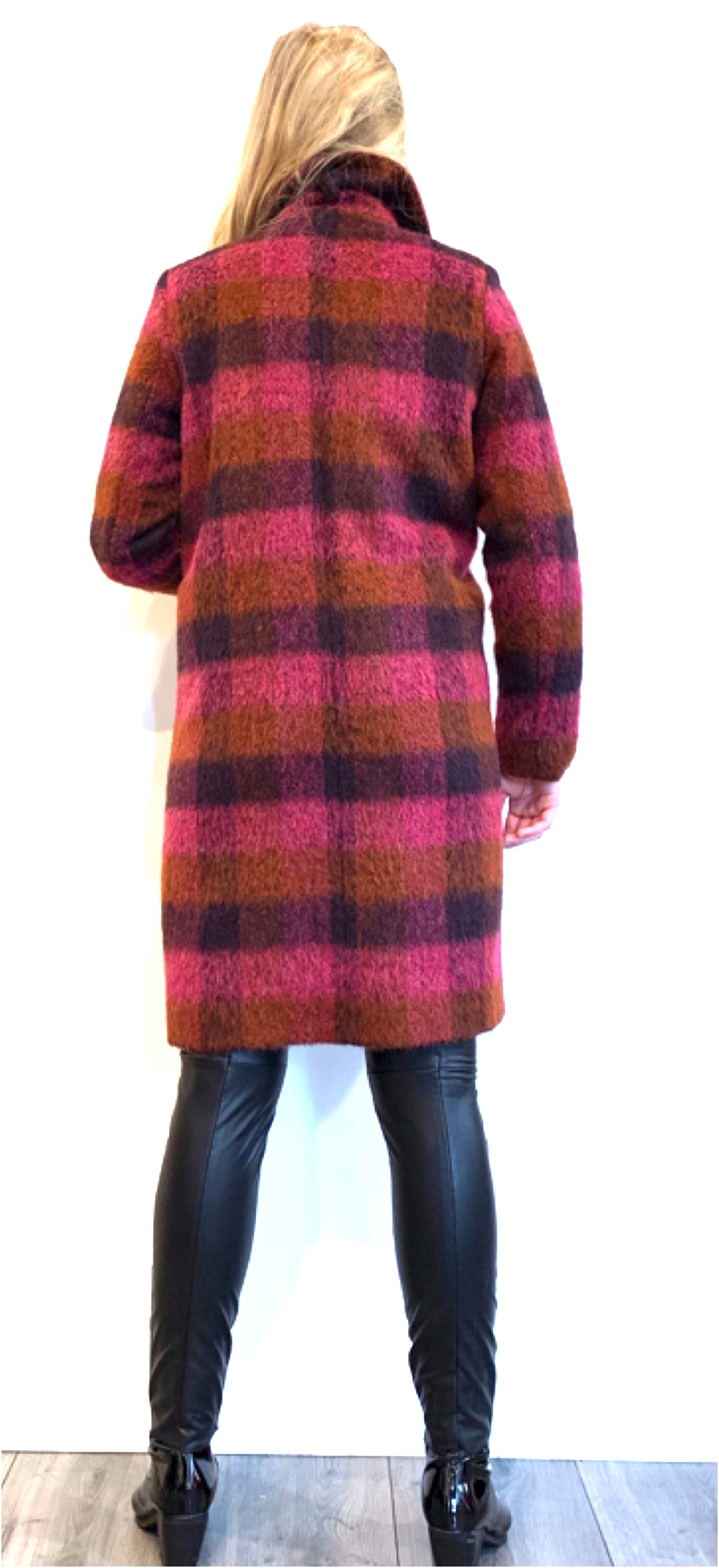 Jas check wool coat