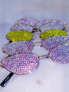 collection of sunglasses with crystals in diffrent colors