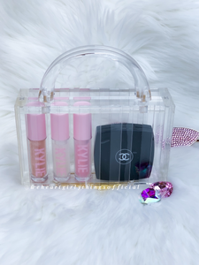 acrylic box handbag with items showing how much can fit