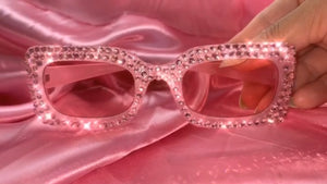 pink glasses with pink rhinestones
