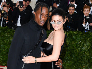 kylie jenner wearing same sunglasses with cystals hugging husband at met gala