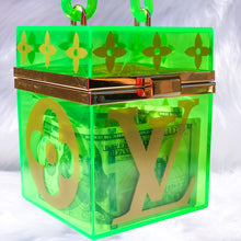 Load image into Gallery viewer, Neon Green Box Hand Bag