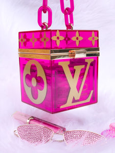 pink acrylic hand bag lv decals