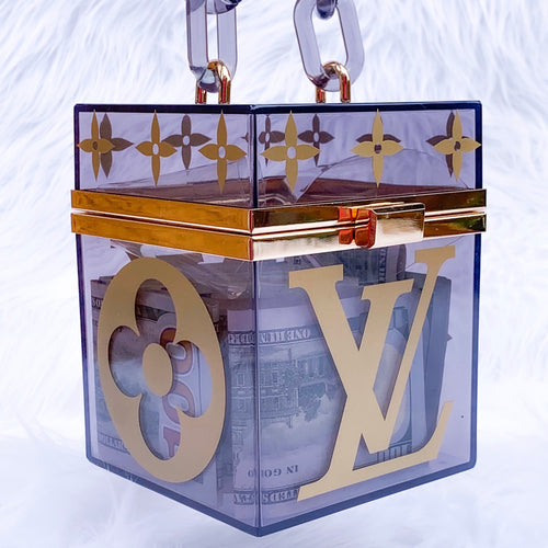 black acrylic box bag with gold lv decals