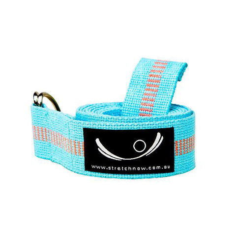Aqua Blue Stripy Organic Cotton Yoga Strap