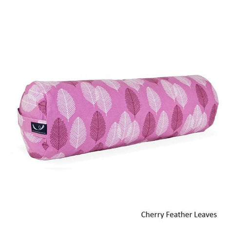 Cherry Feather Leaves Organic Cotton Yoga Bolster