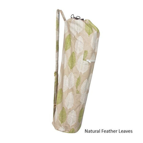 Natural Feather Leaves Organic Cotton Yoga Mat Bag