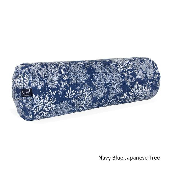 Navy Blue Japanese Tree Organic Cotton Yoga Bolster