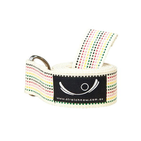 Rainbow Stripy Organic Cotton Yoga Strap